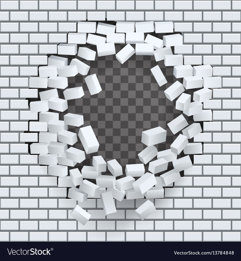 break hole in brick wall destruction template vector image