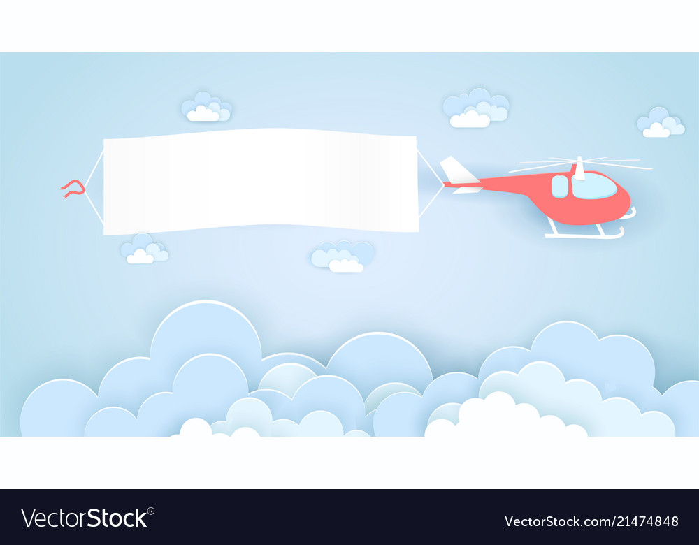 Flying helicopter with empty advertising banner