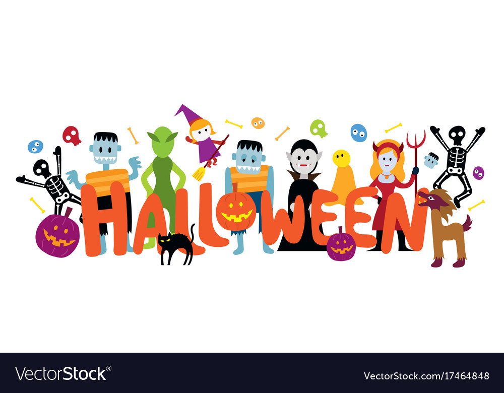 Group halloween monster characters