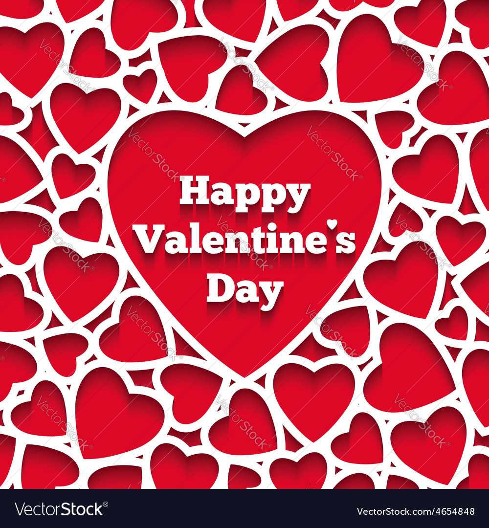 Happy valentines day greeting card hearts
