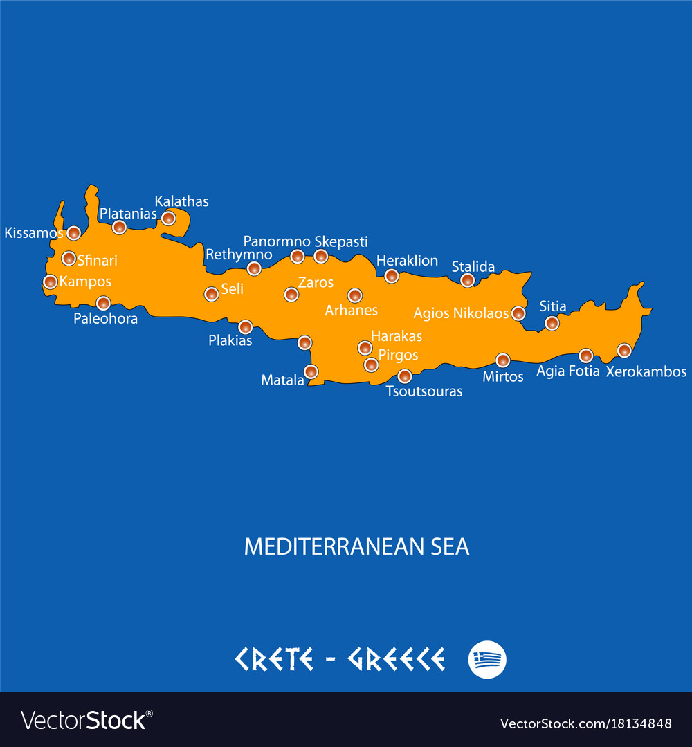 Island Of Crete In Greece Orange Map And Blue Vector Image