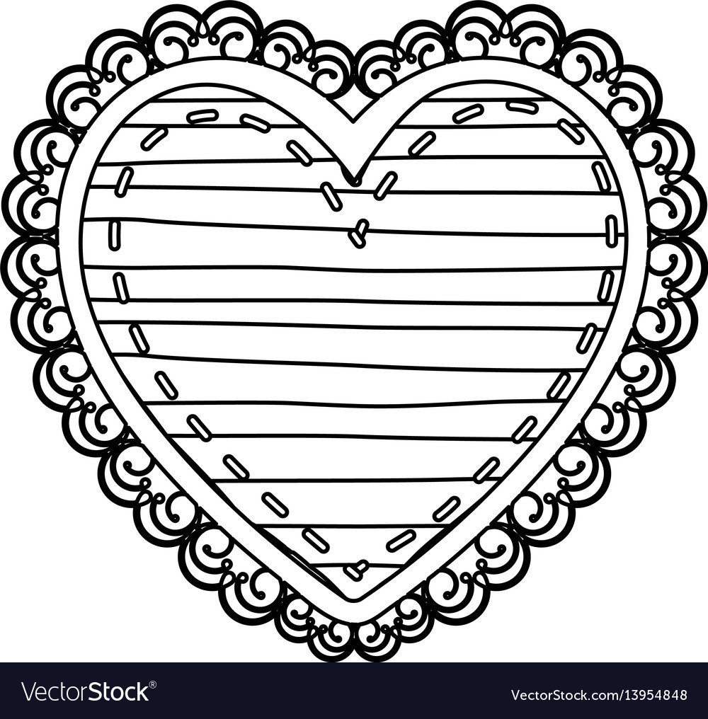 Silhouette heart shape with lines pattern curl vector image