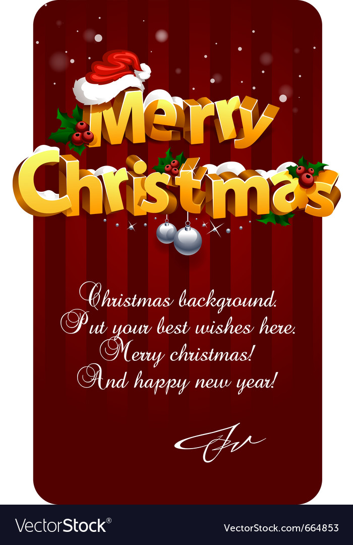 3d christmas lettering vector image