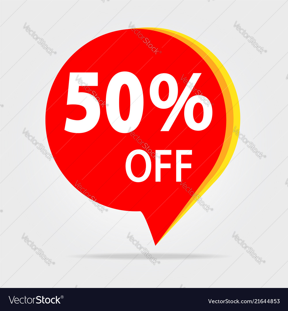 50 off discount sticker sale red tag isolated