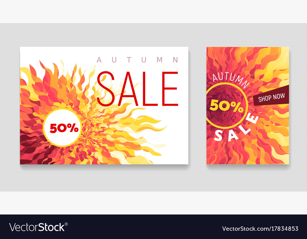Autumn sale flyers set with abstract fall