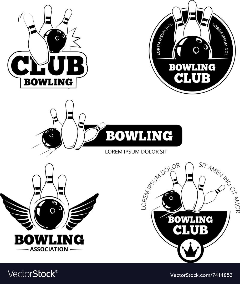 Bowling labels emblems and badges set