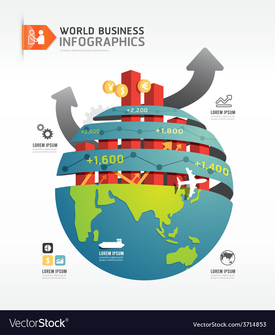 Business world infographic concept design template