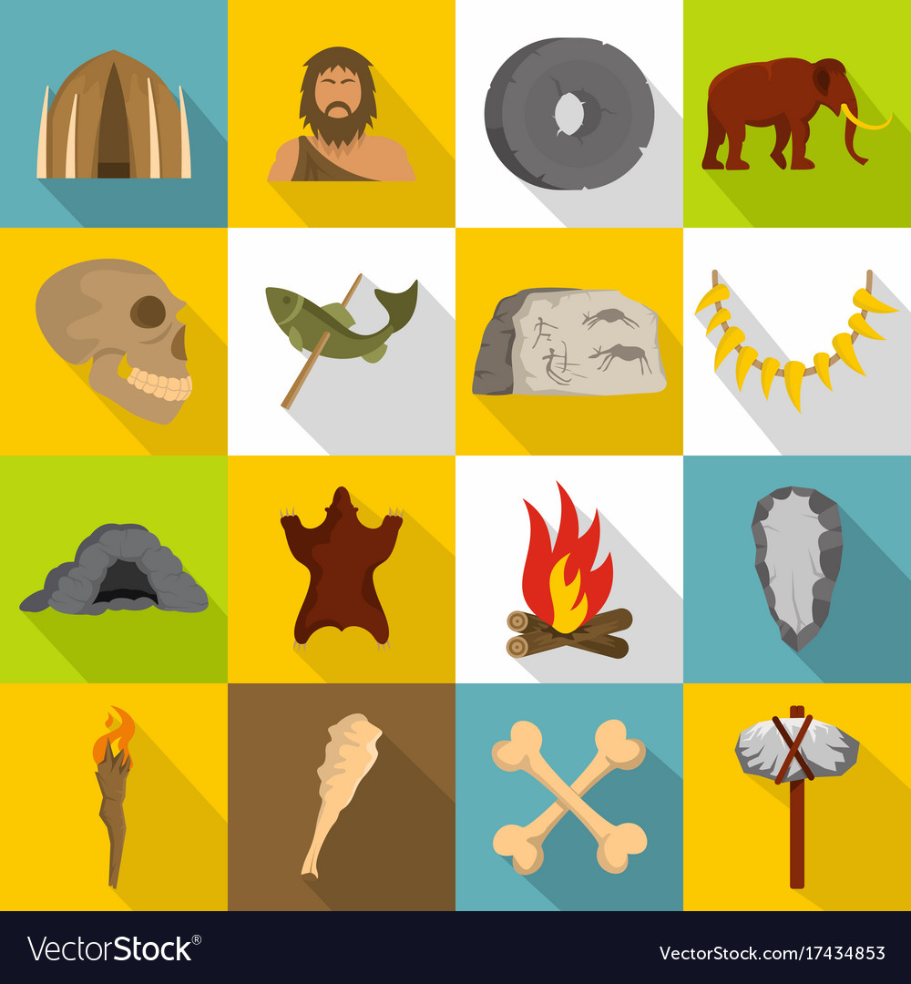 Caveman icons set flat style