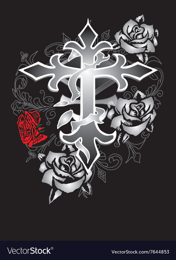 Cross rose design
