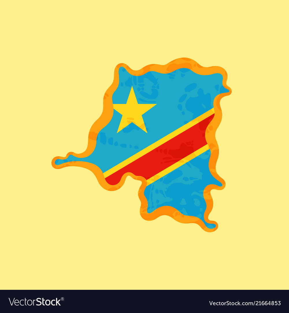 Dr Congo Map Colored With Congolese Flag Vector Image
