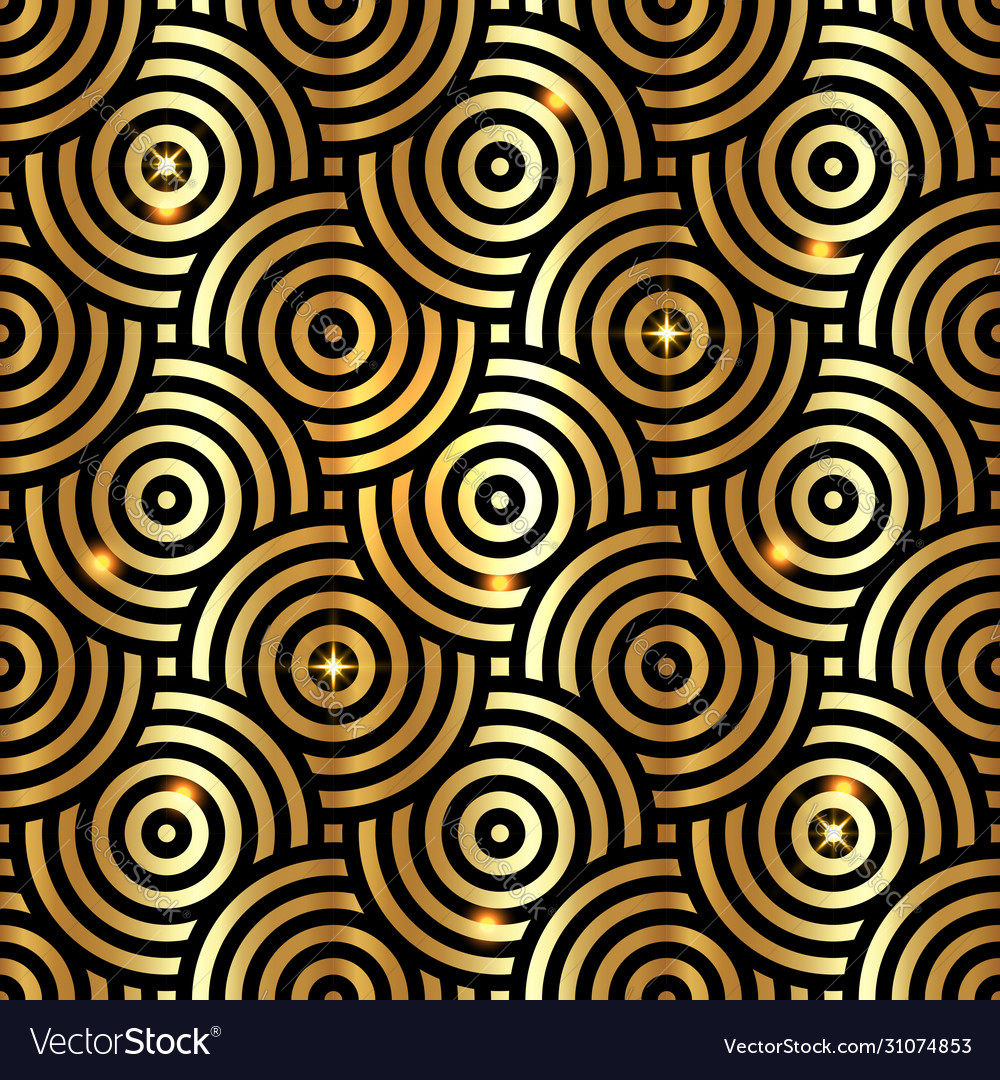 Gold luxury intersecting repeating circles pattern