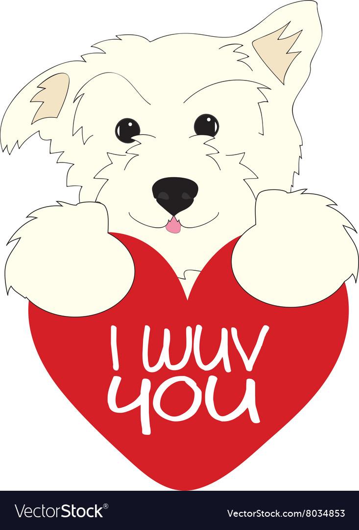 I Wuv You Dog vector image