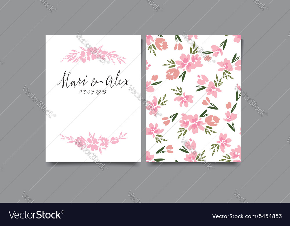 Invitation card with watercolor flowers Thank you