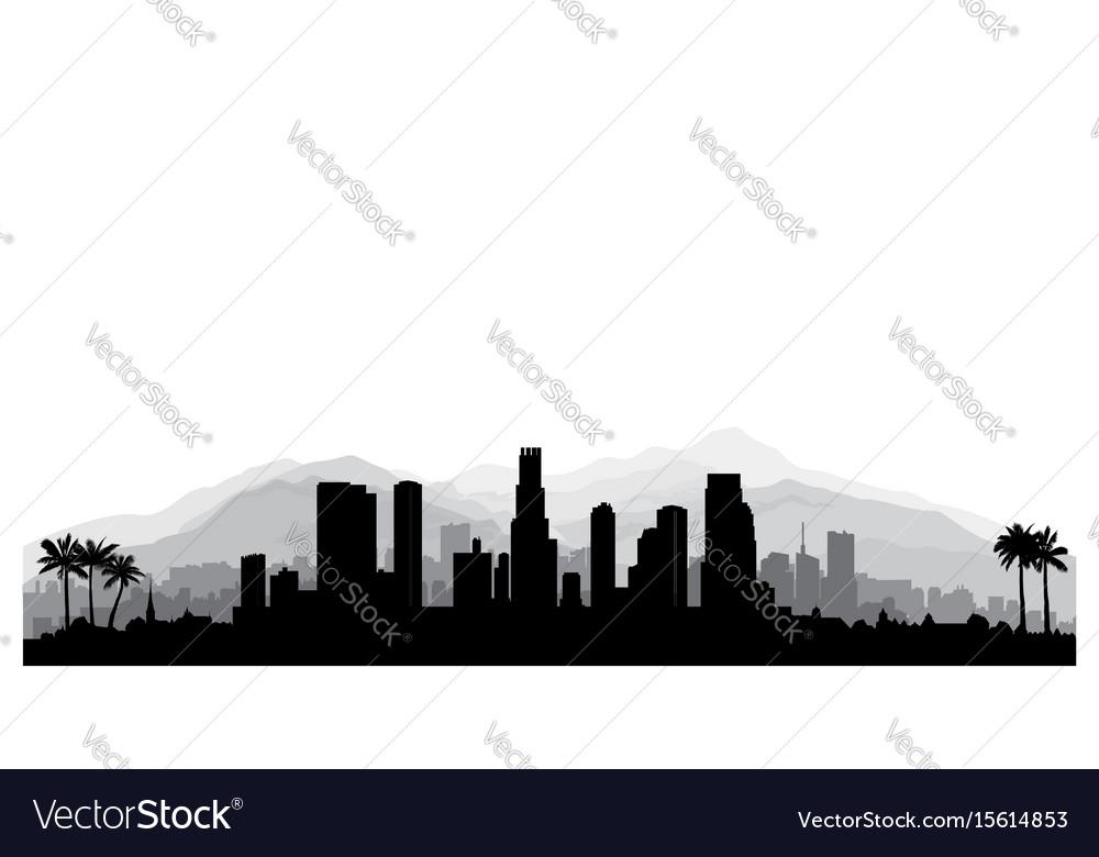 Los angeles usa skyline city silhouette