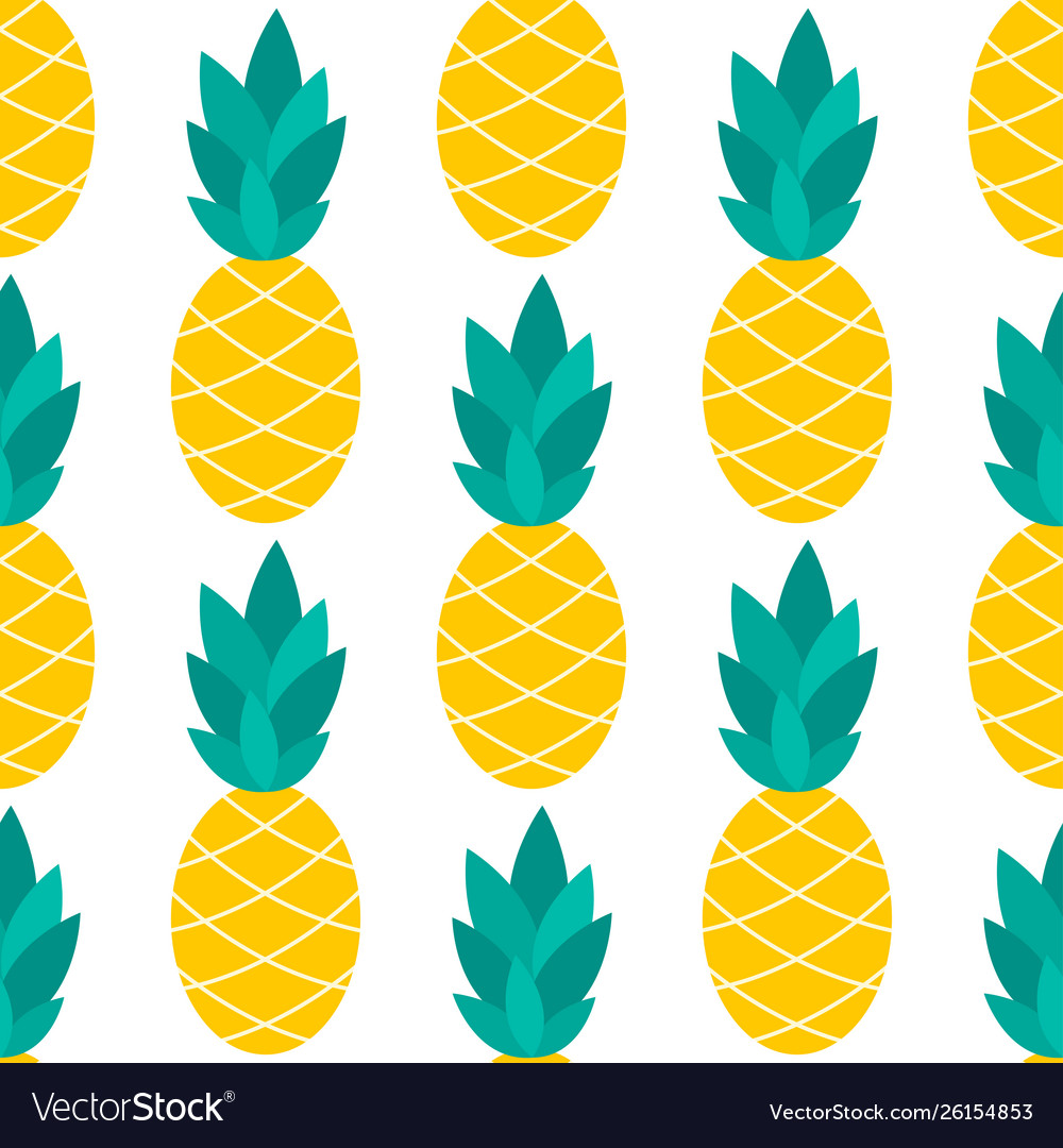 Pineapple seamless pattern on white
