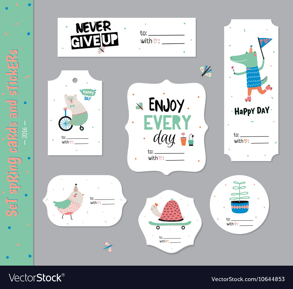Set of birthday cards gift tags labels