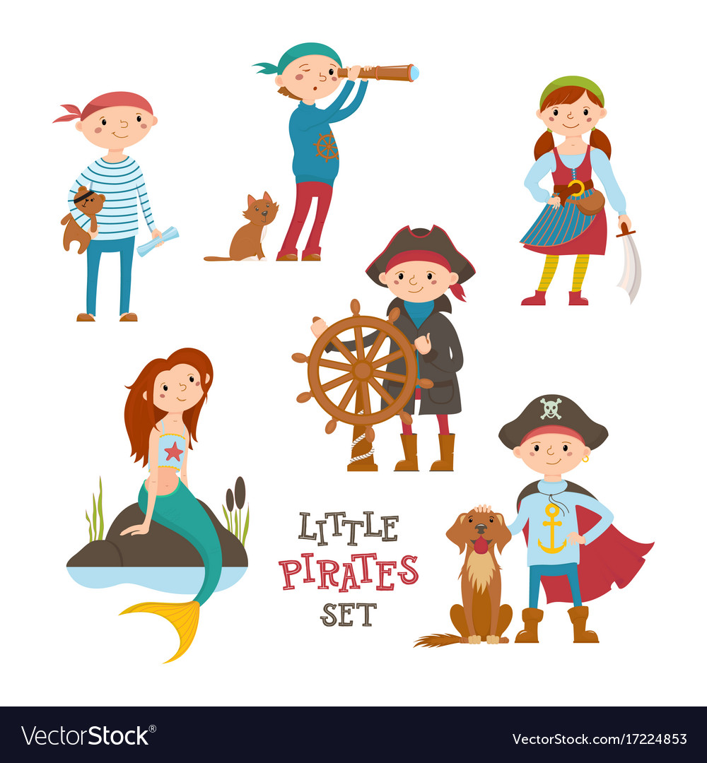 Set of cute little pirate sailor kids and mermaid