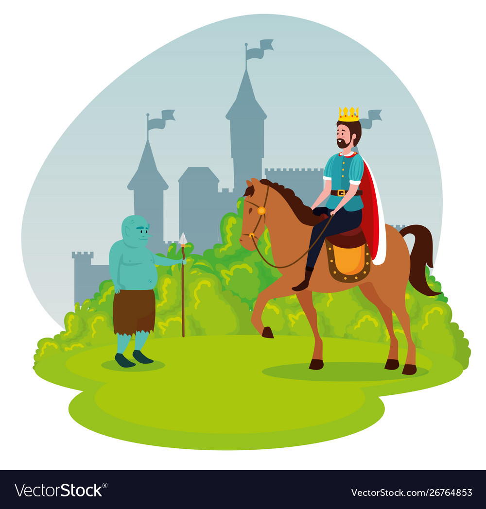 Troll And Man King Riding Royal Horse With Bushes Vector Image