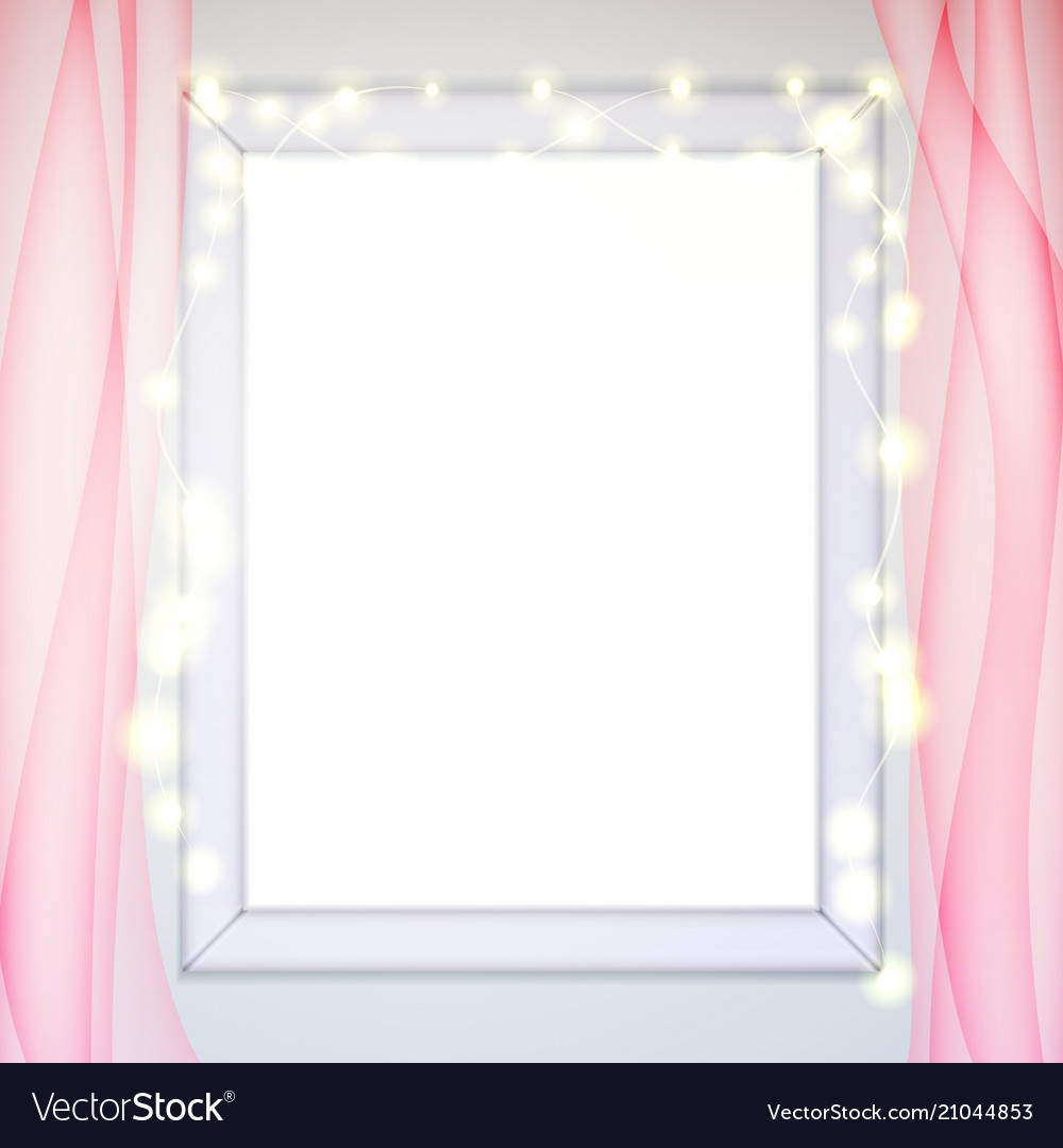 Window Frame Glow Garland Pink Tulle Curtains Vector Image
