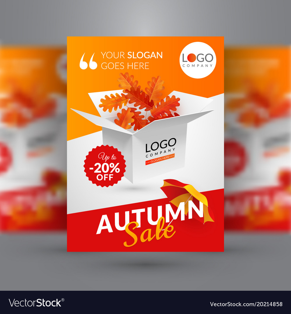 autumn sale flyer template with box vector image