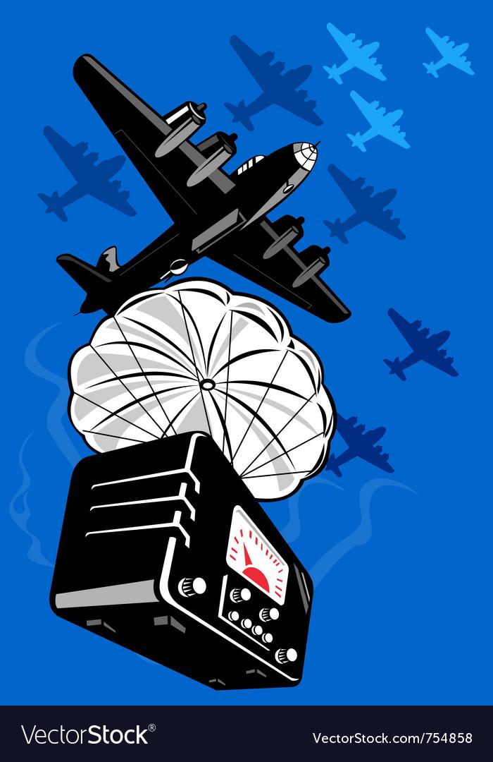 Bomber airplane dropping radio parachute