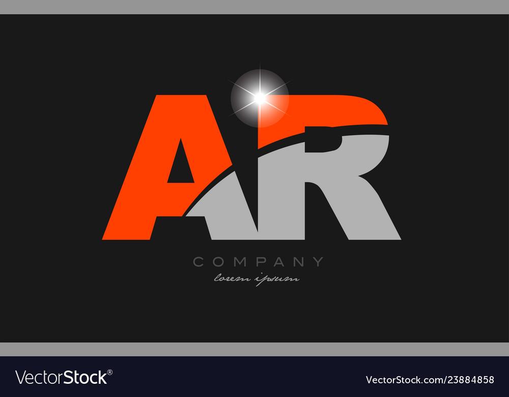 Combination letter ar a r in grey orange color