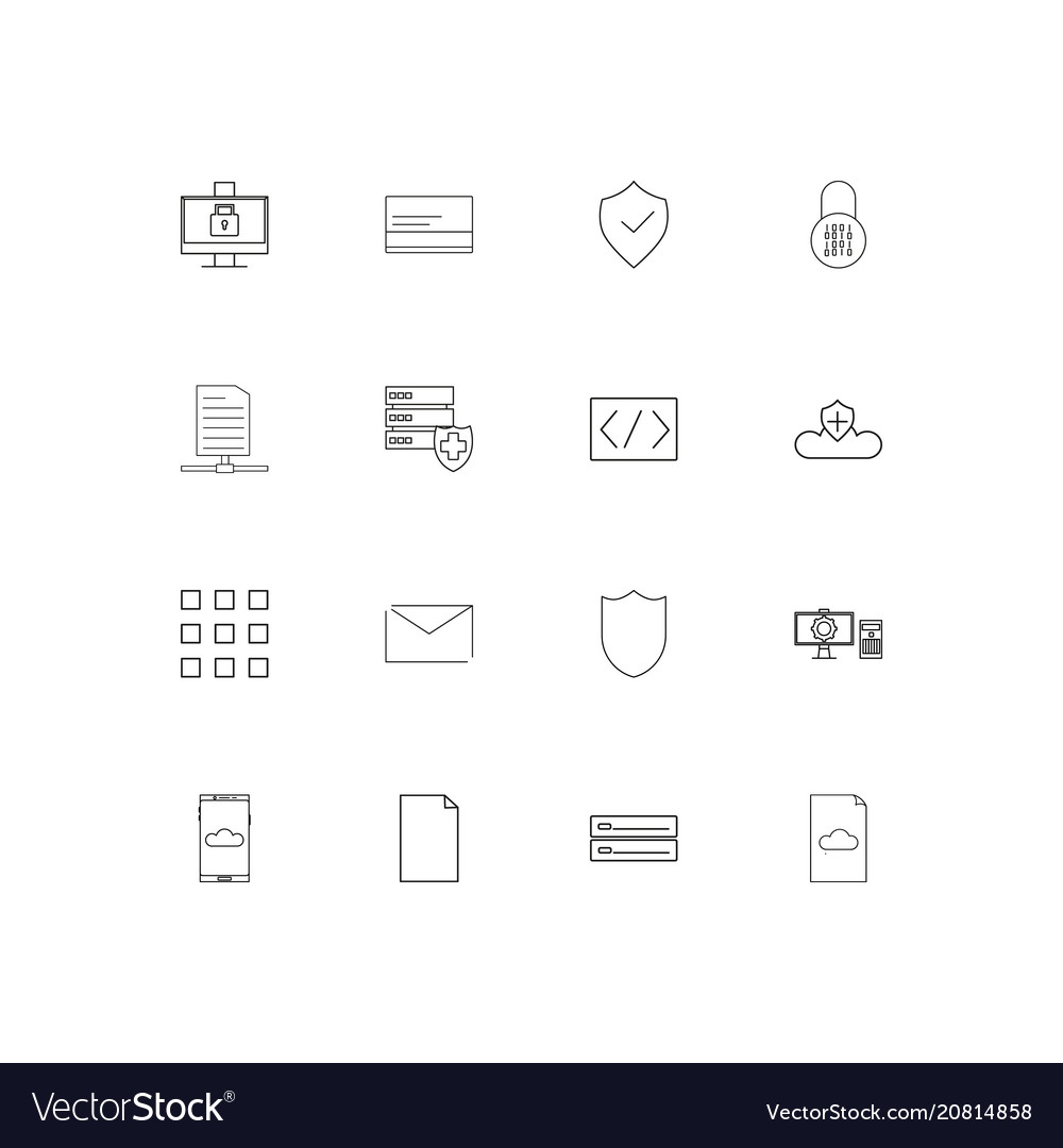 Cyber security linear thin icons set outlined