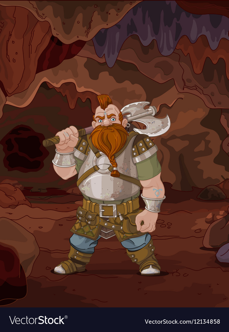 Fantasy Style Dwarf in the Magic Cave vector image