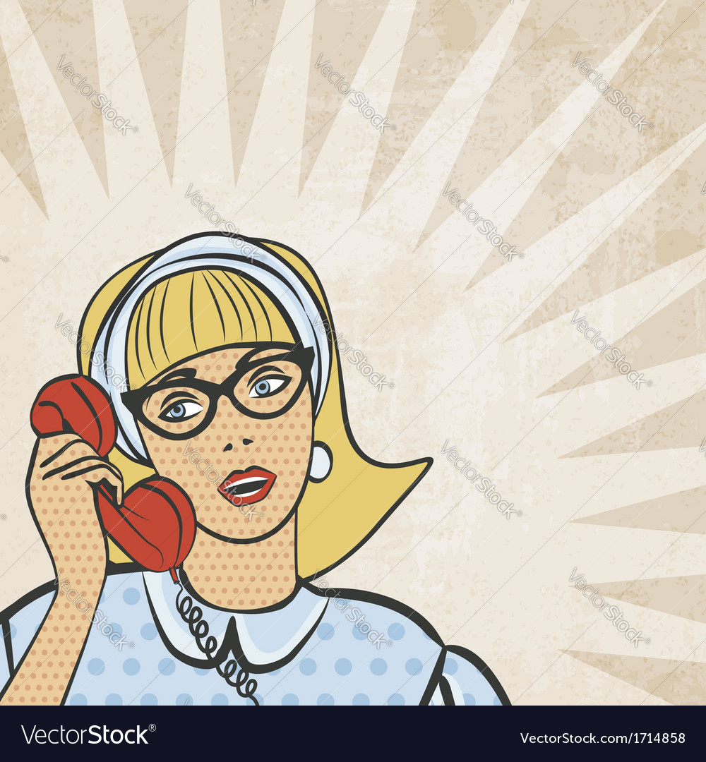 Girl with telephone in retro style