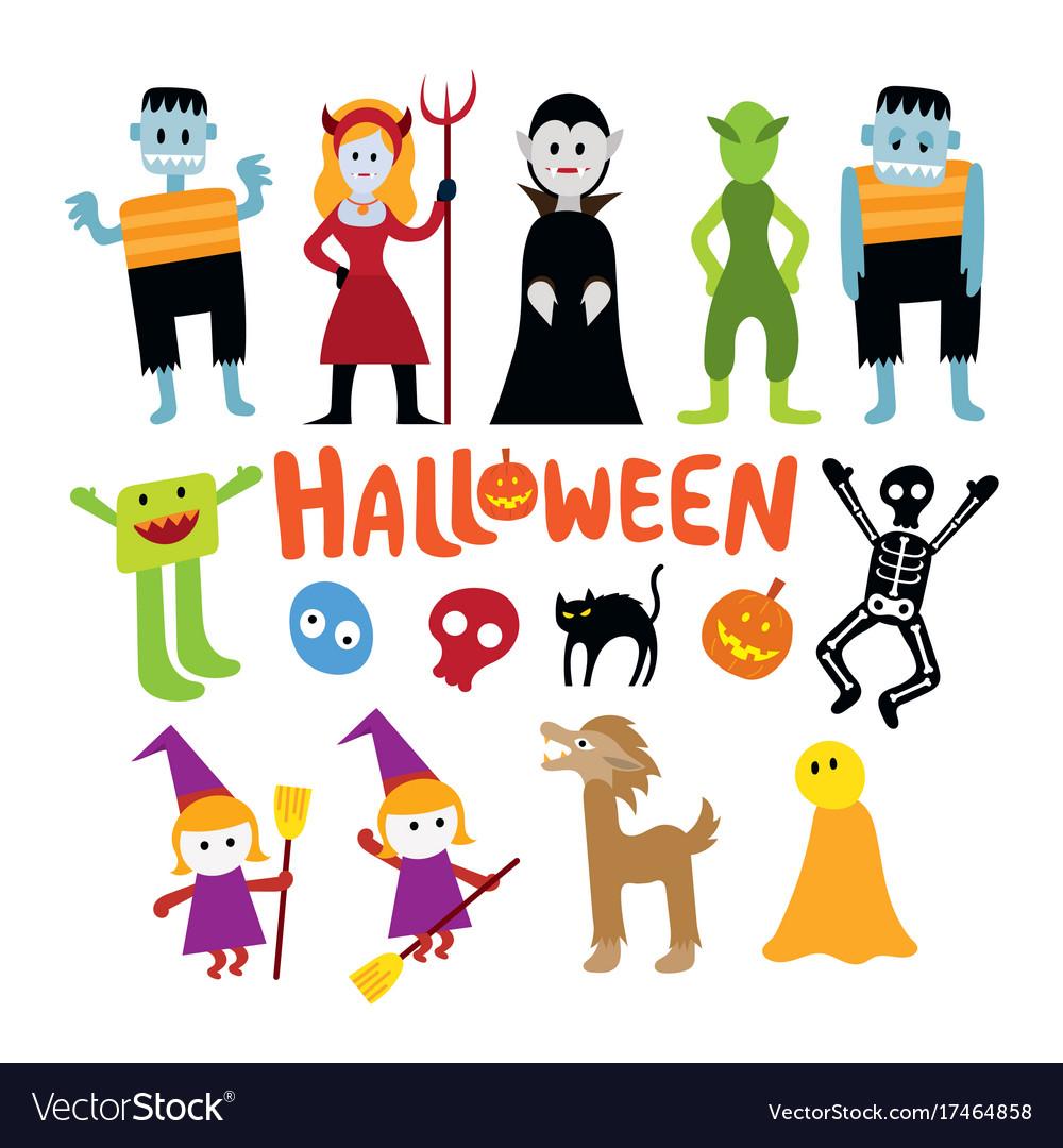 Halloween monster characters set