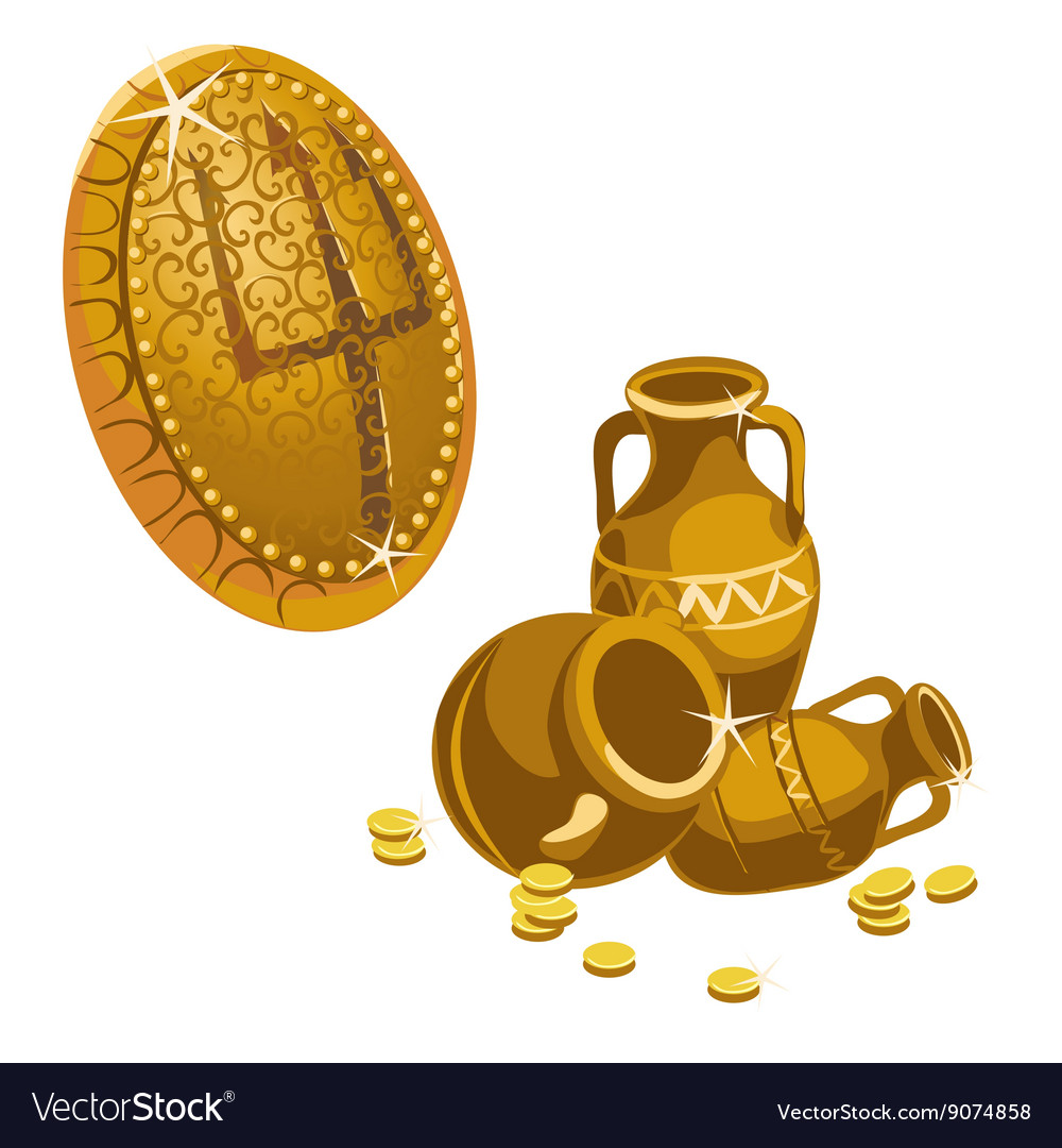 Jugs gold coins and shield with a Trident