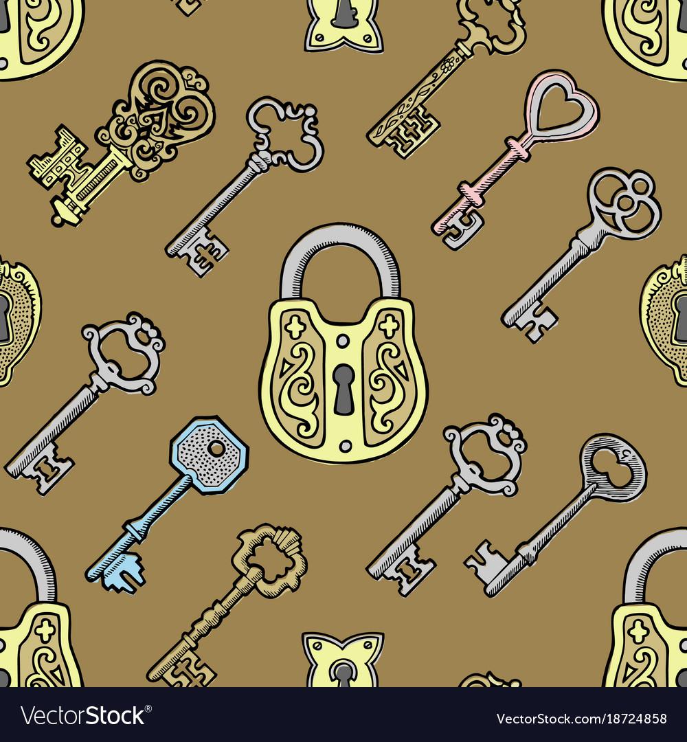 Key vintage old sketch retro lock