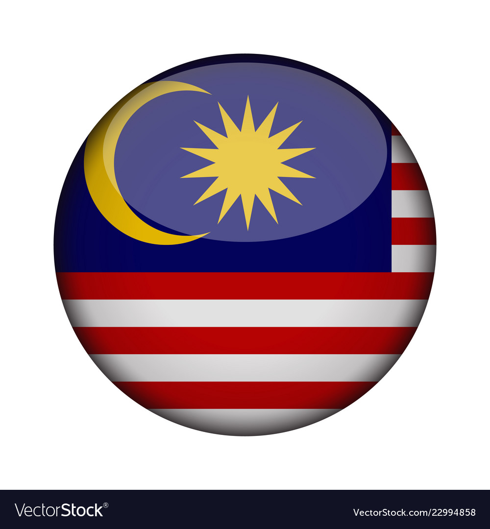 Malaysia Flag In Glossy Round Button Of Icon