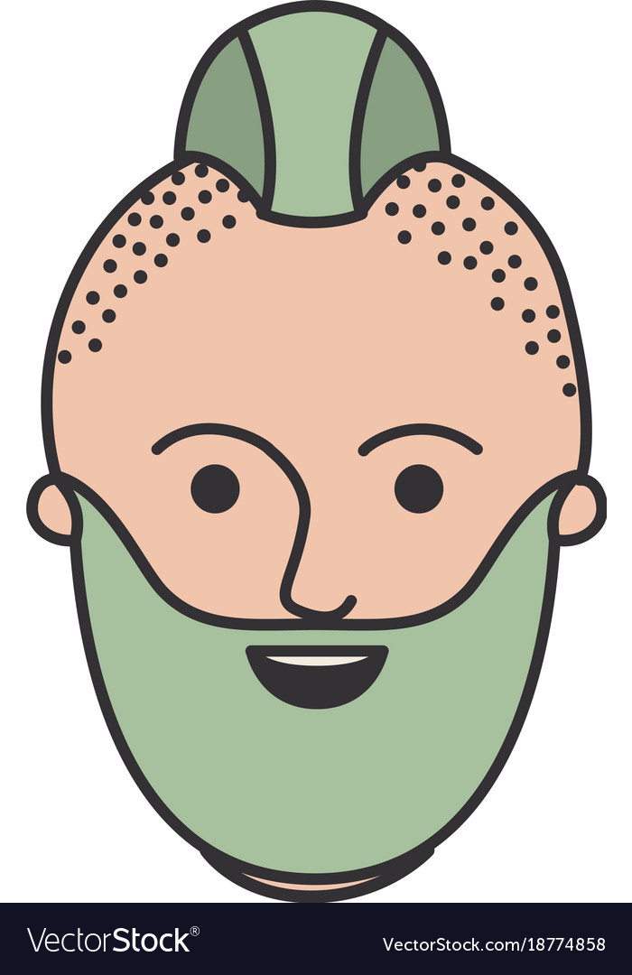 Male Face With Taper Fade Haircut And Beard In Vector Image