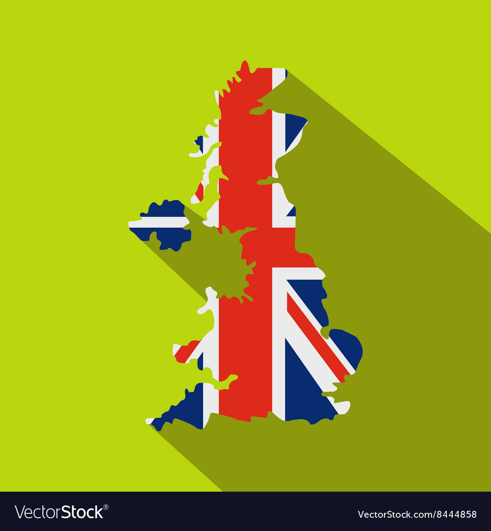 Map of UK of the national flag icon flat style
