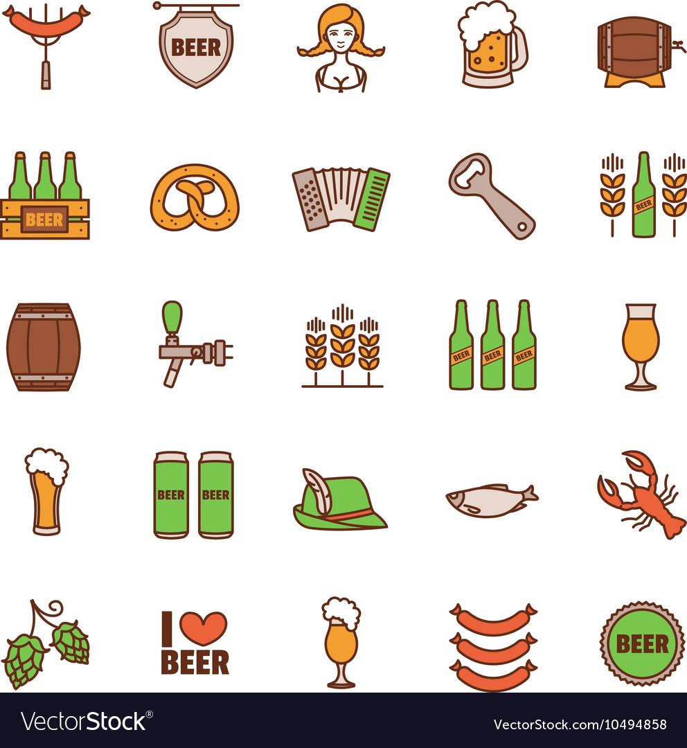 Oktoberfest thin line icons set