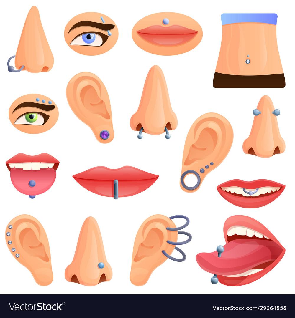 Piercing icons set cartoon style