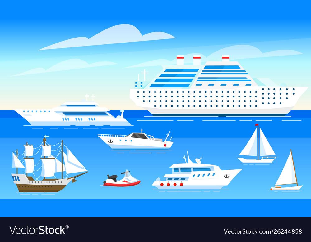 Sea ships background set sailboats and boats