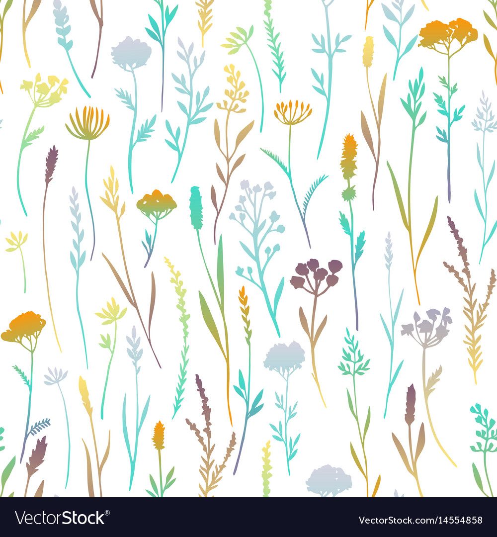 Seamless pattern with color plants