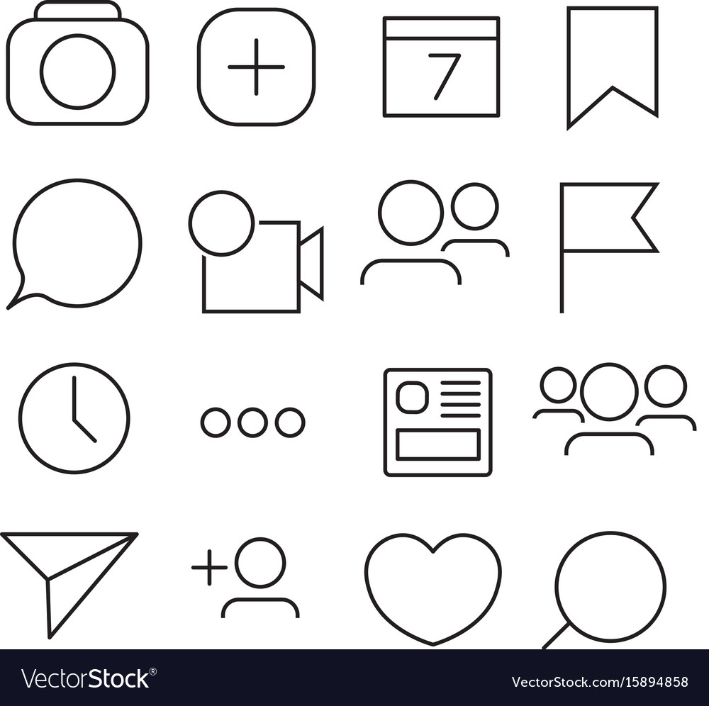 Set of internet icons line outline style