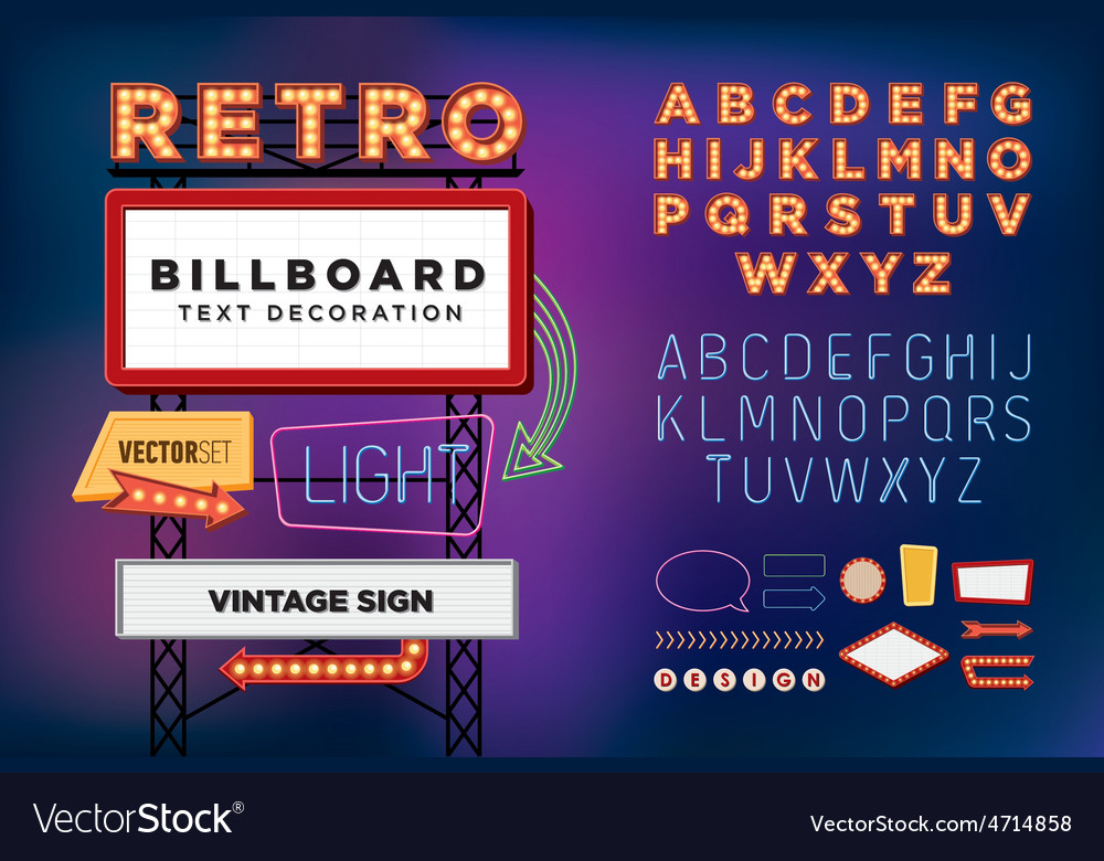 Set Retro neon sign vintage billboard