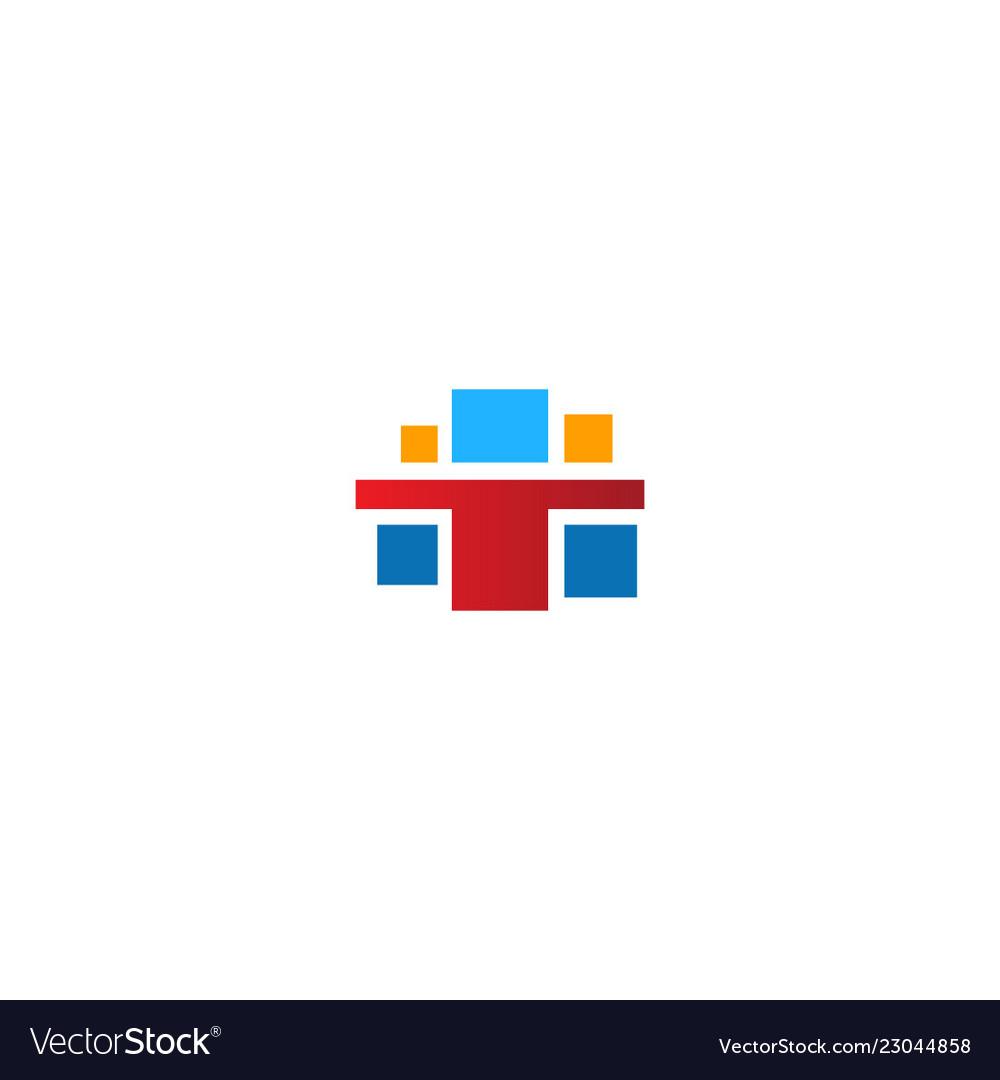 Square colored t logo