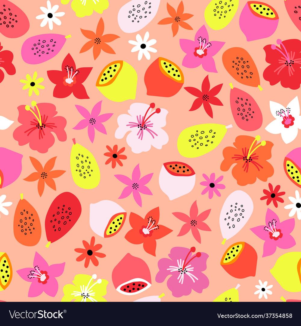 Tropical summer fruit flowers seamless