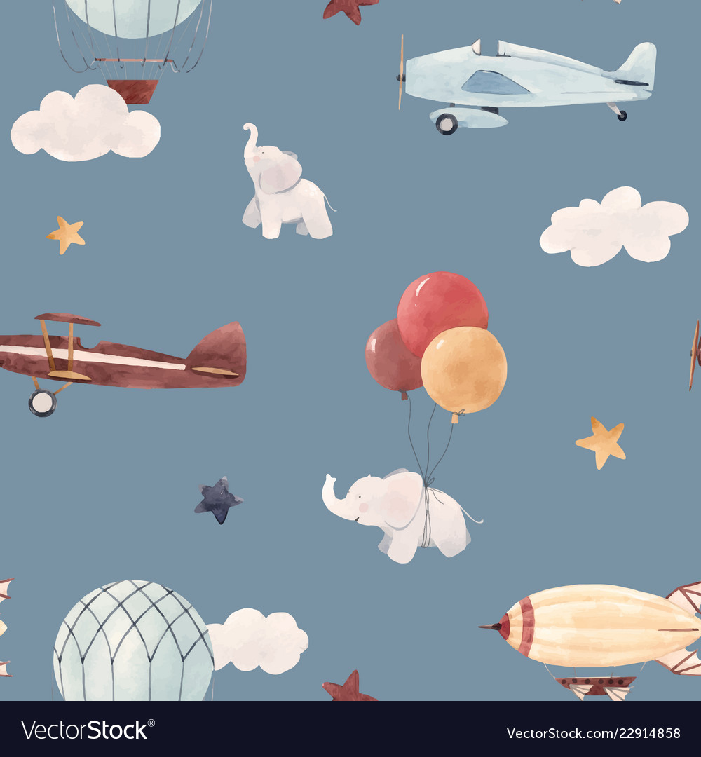Watercolor aircraft baby pattern