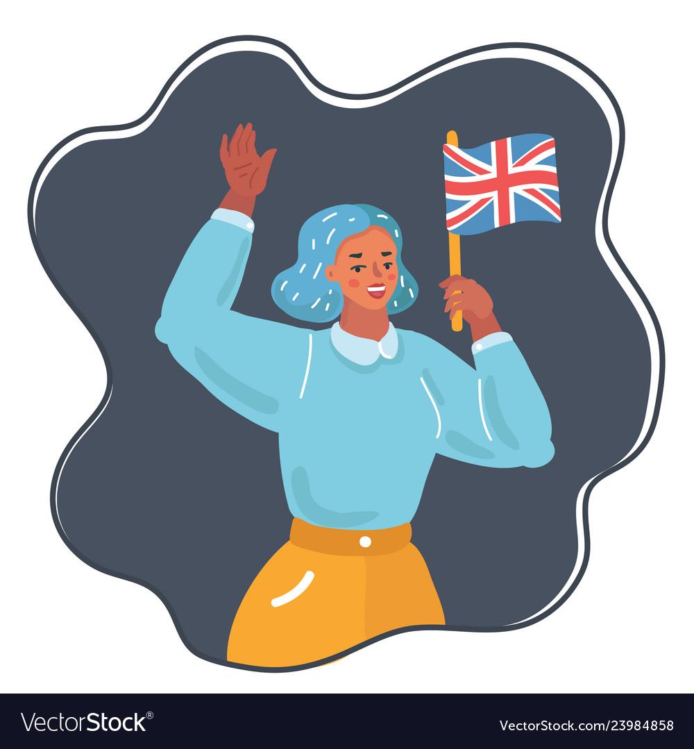Woman waving uk flag