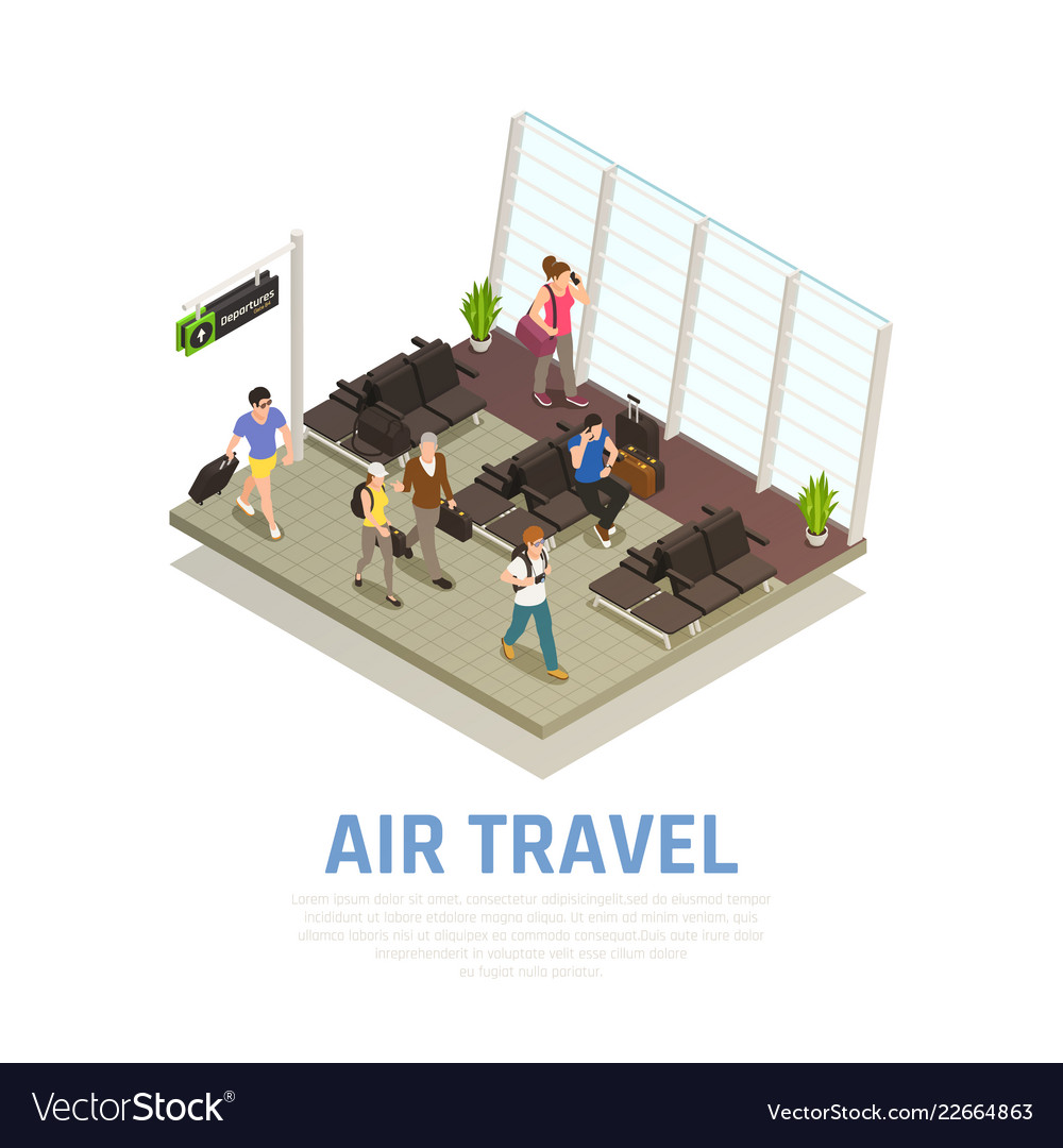 Air travel people isometric composition