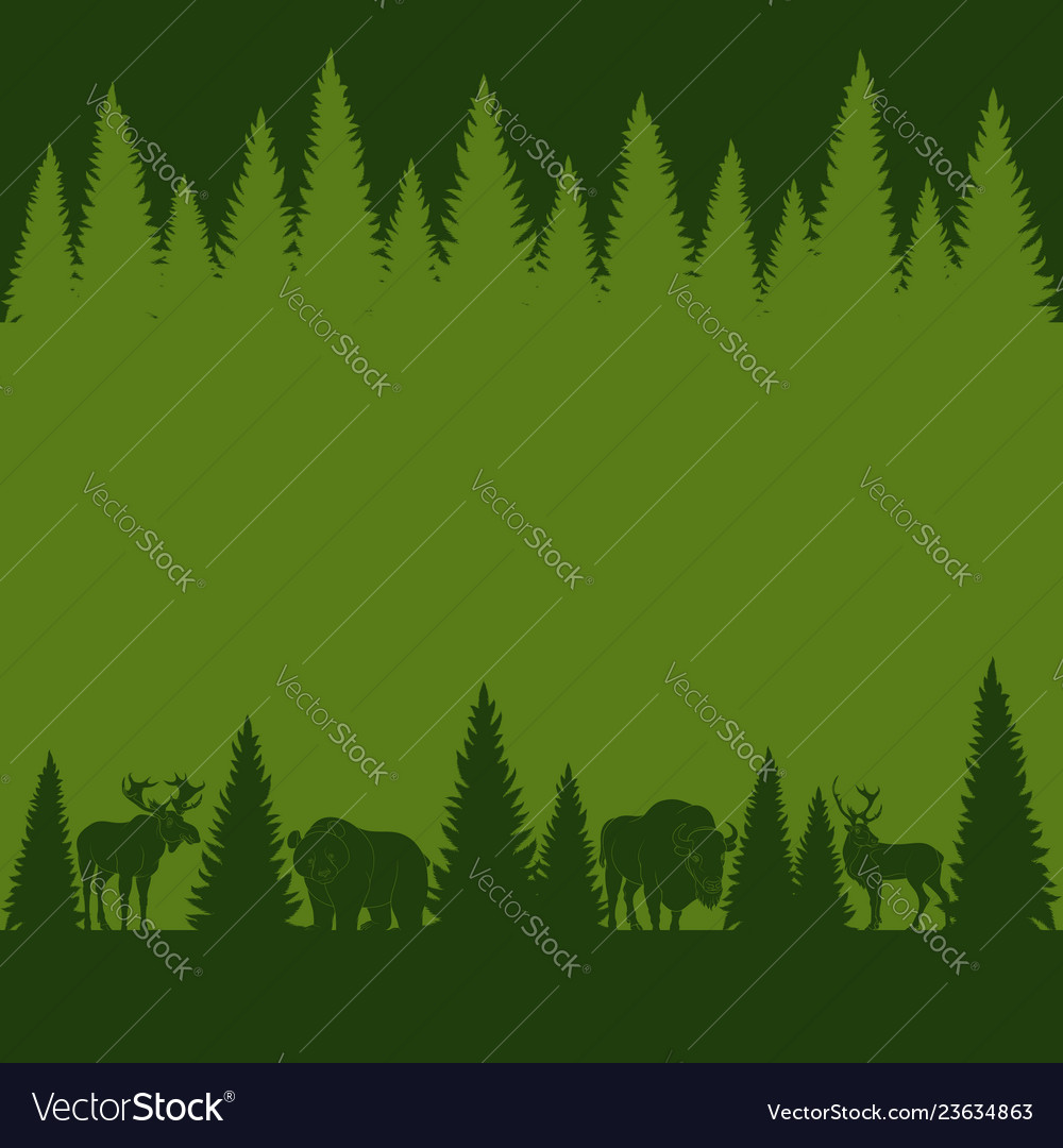 Background of silhouettes of wild forest animals