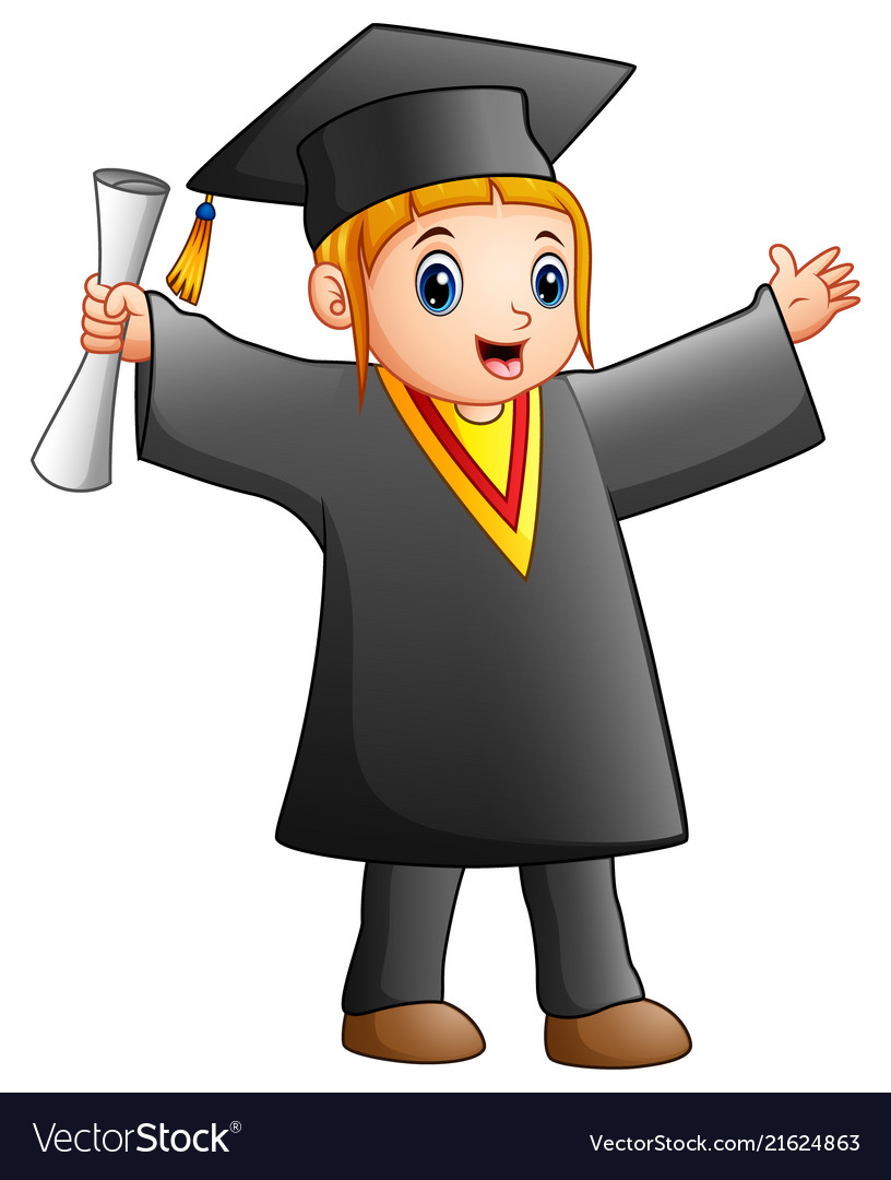 Happy girl in black graduation gown Royalty Free Vector