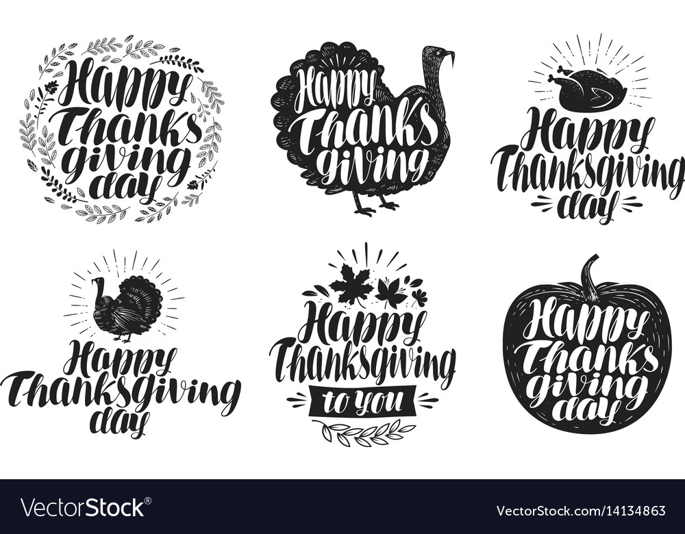 Happy thanksgiving label set holiday icons or