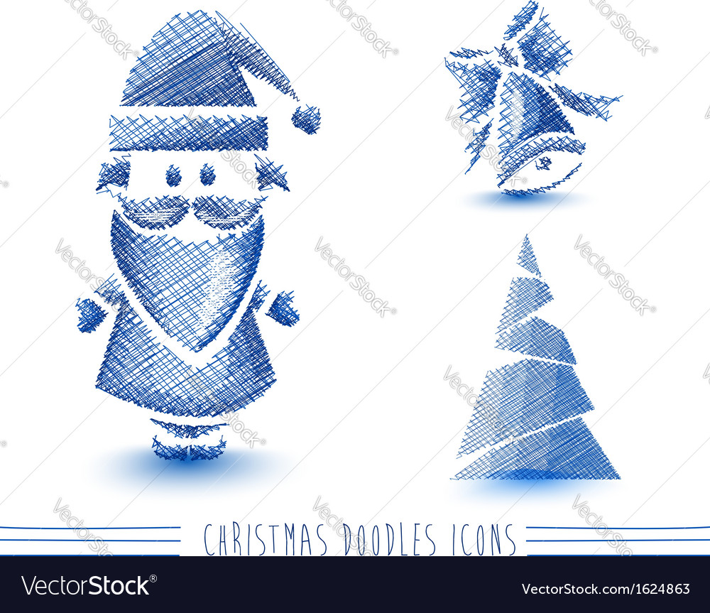 Merry Christmas blue sketch style elements set